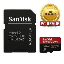 SanDisk microSDXC Extreme Pro 64GB (173388) 95 MB/s Class 10 UHS-I V30 + Adaptér - 1