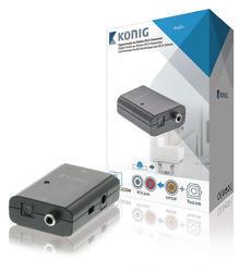 König KNACO2504 převodník digitálního audia 1x Toslink zásuvka + 1x SPDIF (RCA) zásuvka - 2x RCA zásuvka - 2