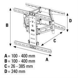 HAMA 108756 Nástenný držiak TV, pohyblivý 400 x 400 - 4
